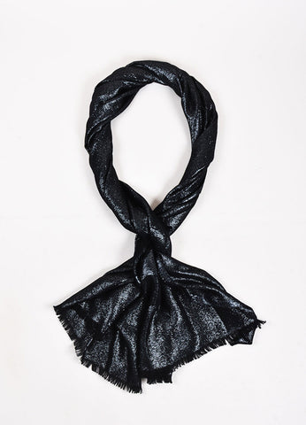 Chanel Black and Metallic Silver Cashmere Blend 'CC' Detail Fringe Edge Scarf Frontview