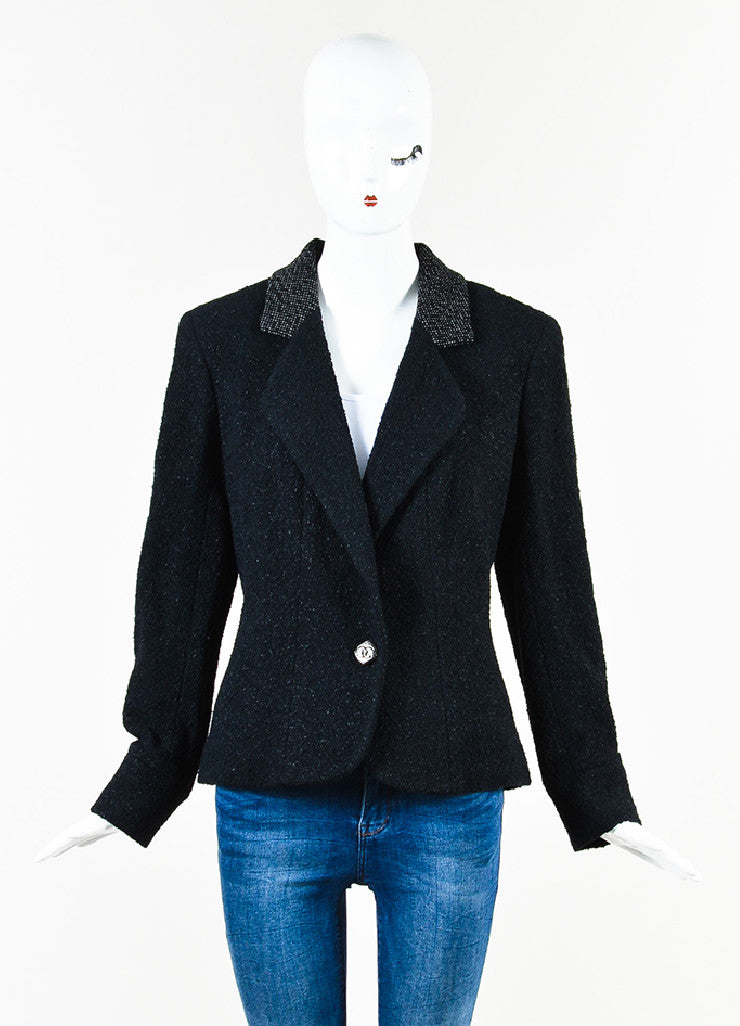 Chanel Black Textured Knit 'CC' Logo Button Jacket Frontview 2