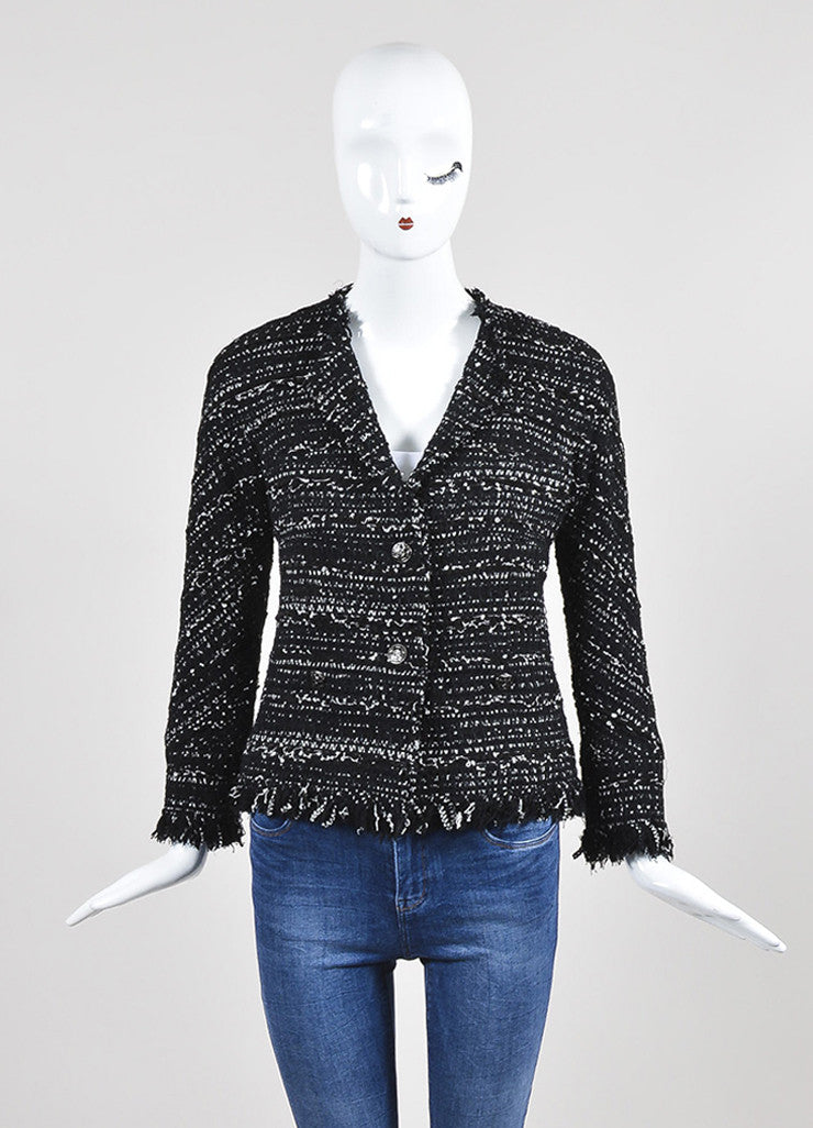 Black and White Chanel Tweed Two Button Jacket Frontview 2