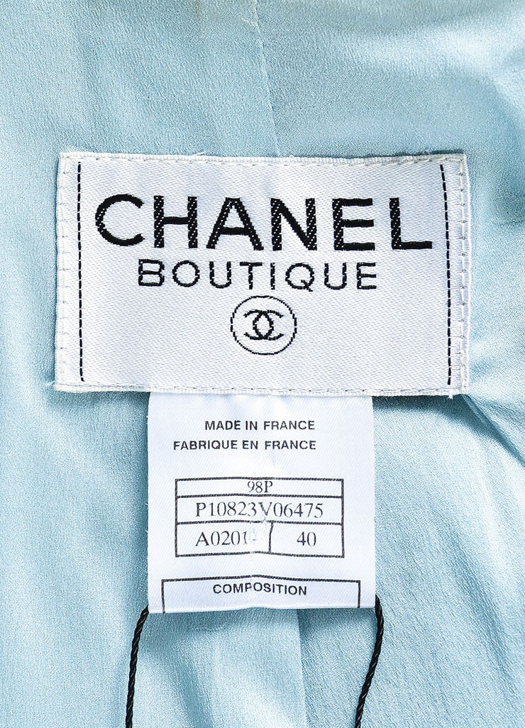 Chanel Light Blue Wool Blend Boucle Tweed Blazer Jacket Brand