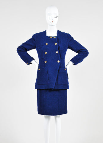 Blue Chanel Tweed Double Breast Jacket and Skirt Suit Frontview