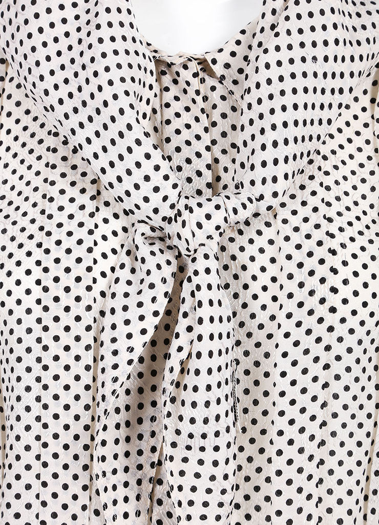 Chanel Cream and Black Silk Jacquard Polka Dot Print Blouse Top, Skirt and Scarf Set Detail 2