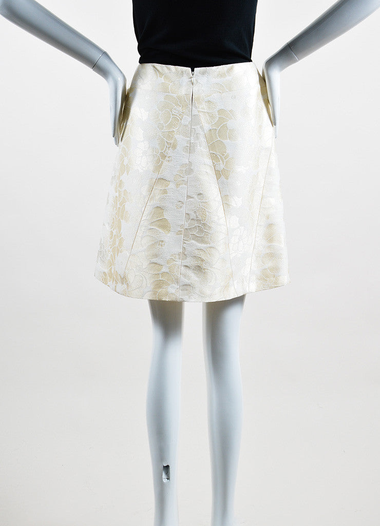 Cream Chanel Floral Brocade Skirt Backview
