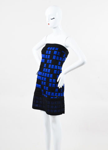 Chanel Black & Blue Knit Checkered Strapless Dress Side