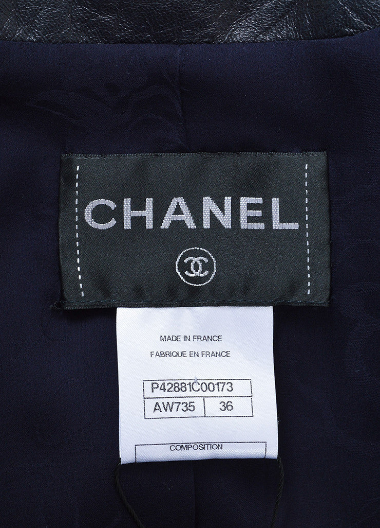 Navy Blue Chanel Patent Leather Feathered Laser Cut Cropped Jacket Brand