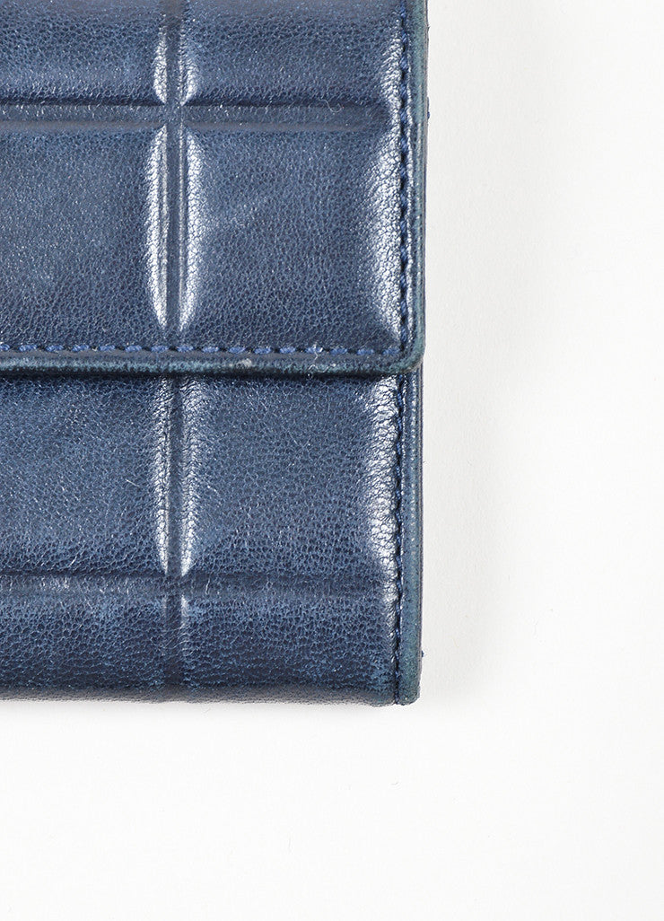 Navy and Silver Toned Chanel Lambskin Leather Fold Over Quilted Wallet Detail