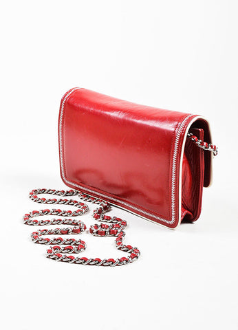 Red and White Leather Chanel Reissue Wallet On Chain Backview
