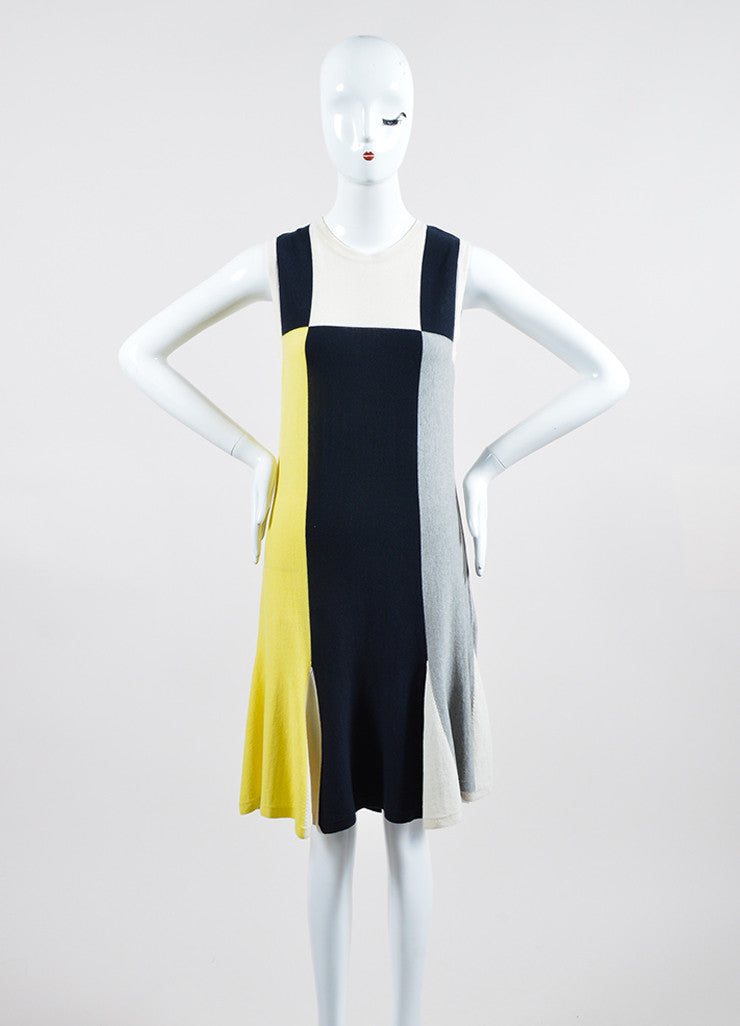 Yellow, Blue, and Grey Chanel Cotton and Cashmere Blend Sleeveless Knit Dress Frontview
