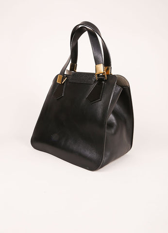 Chloe Black Leather Satchel Tote Bag Sideview