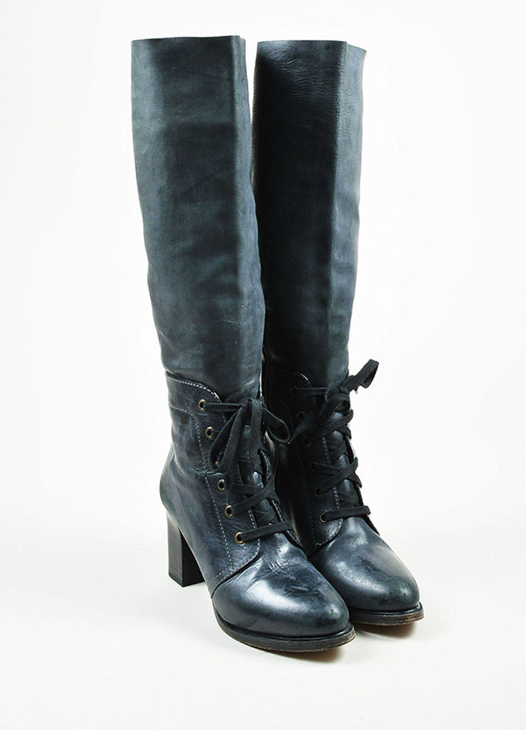 Grey Chloe Leather Lace Up Knee High Stacked Heel Boots Frontview