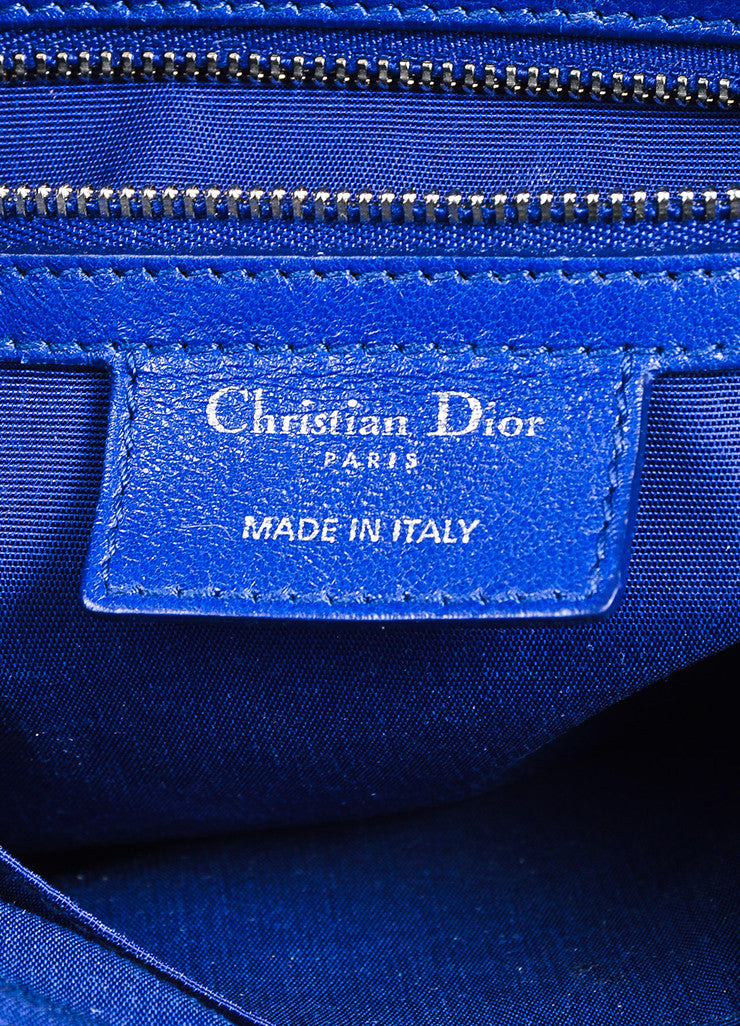 "Christian Dior Navy Blue Leather Embroidered ""Granville Cannage"" Satchel Bag Brand"