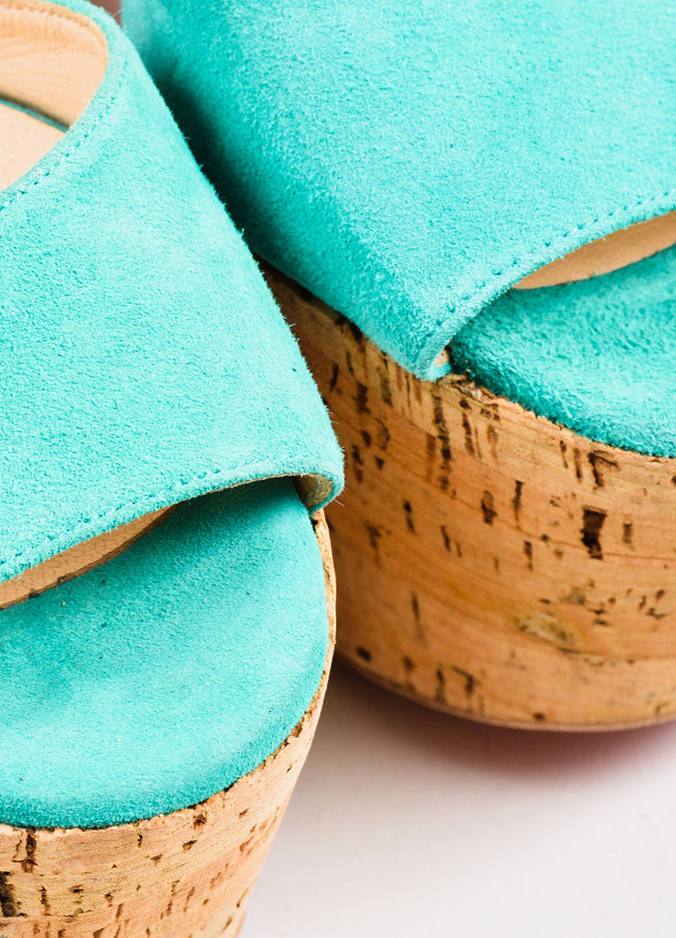 "Teal Christian Louboutin Suede Cork ""Super Dombasle"" Sandals Detail"