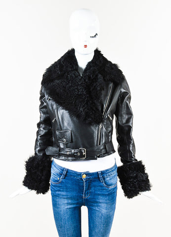 Christopher Kane Black Leather Shearling Trim Moto Jacket Front
