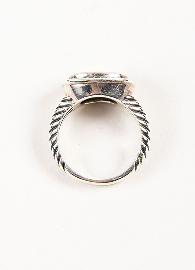 "David Yurman Sterling Silver, White Agate, and Pave Diamond ""Albion"" Ring topview"