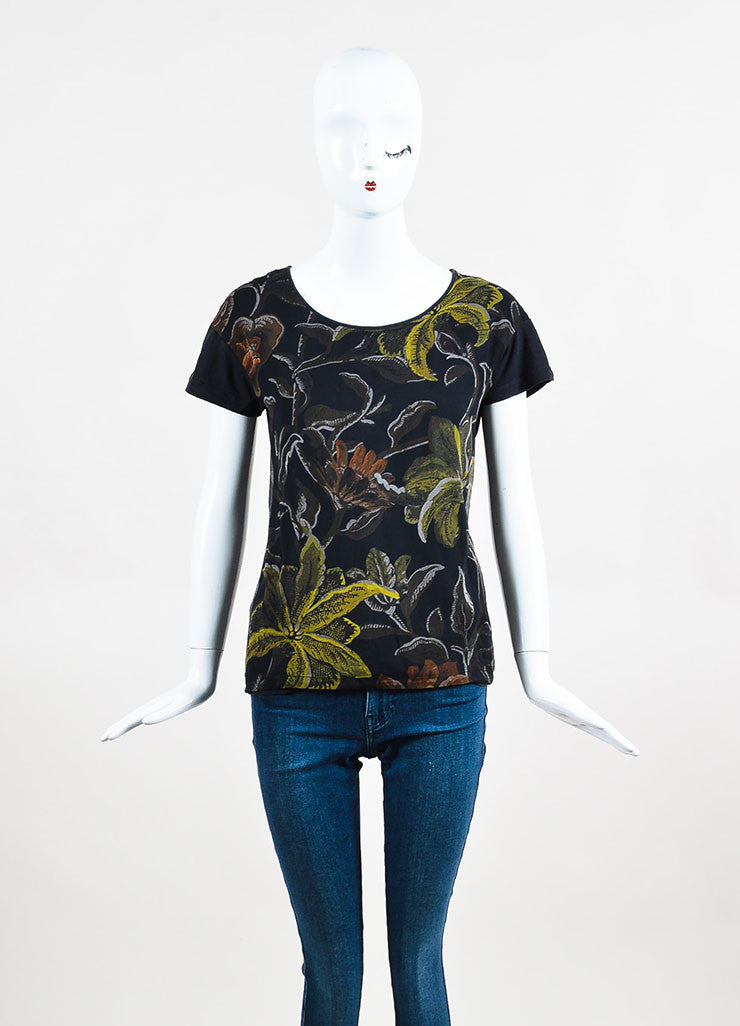 Dries van Noten Black and Yellow Cotton and Silk Floral Print Short Sleeve T-Shirt Frontview