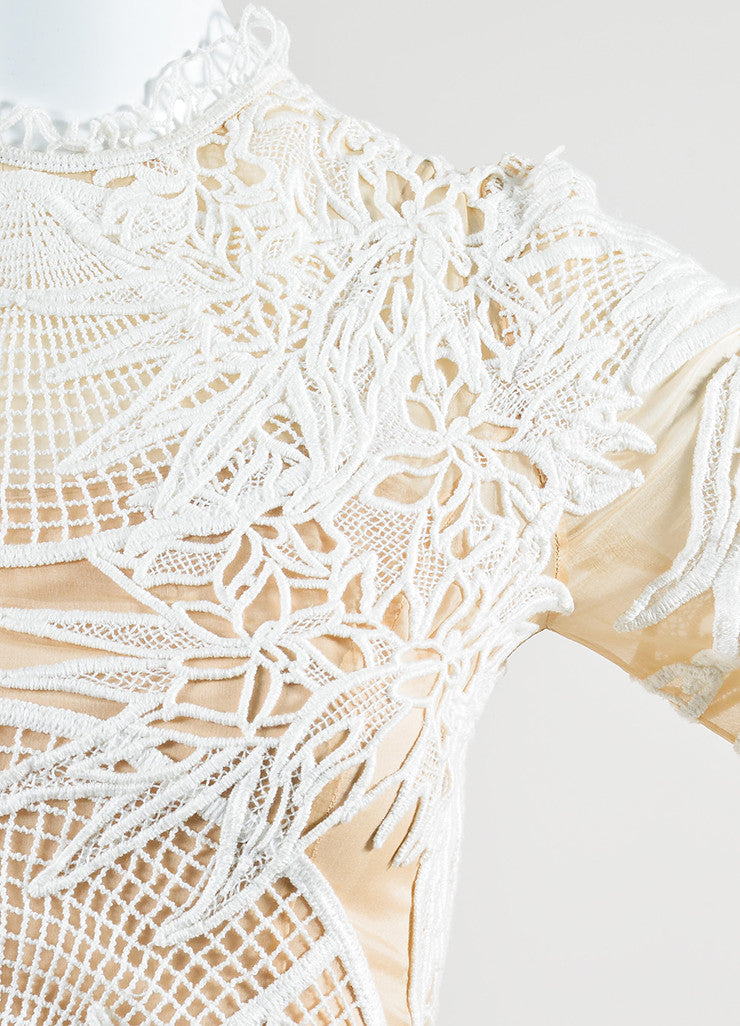 "Erdem White and Nude Sheer Lace Long Sleeve ""Henrike"" Dress Detail"
