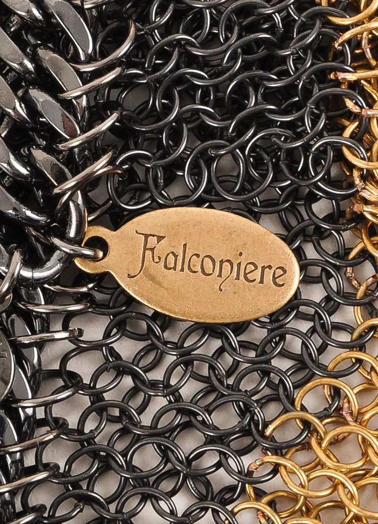 Falconiere New With Tags Gold Toned and Gunmetal Grey Metal Chain Mesh Draped Bracelet Brand