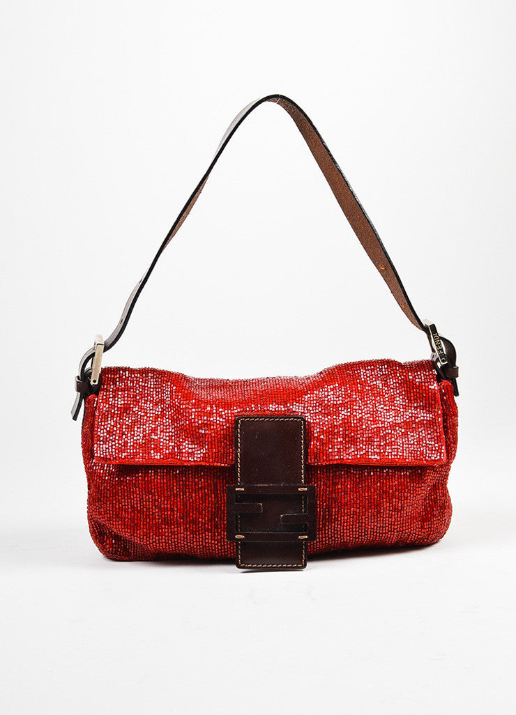 Red and Brown Fendi Beaded Logo Leather Strap Baguette Bag Frontview