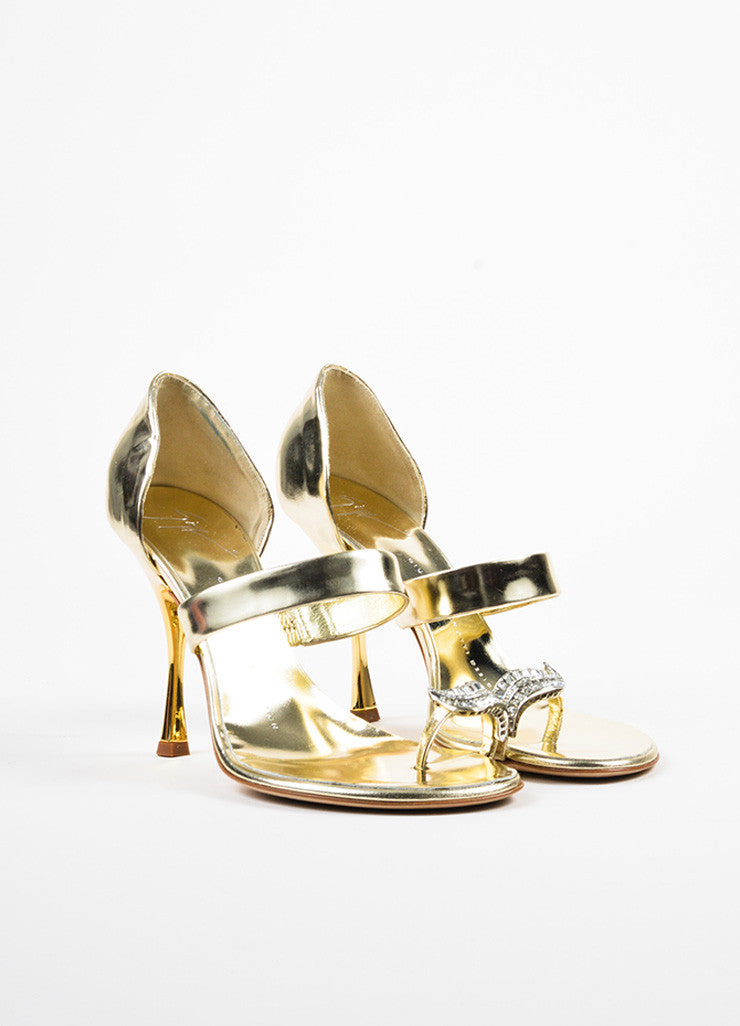 Giuseppe Zanotti Metallic Silver and Gold Leather Rhinestone Toe Sandals Frontview