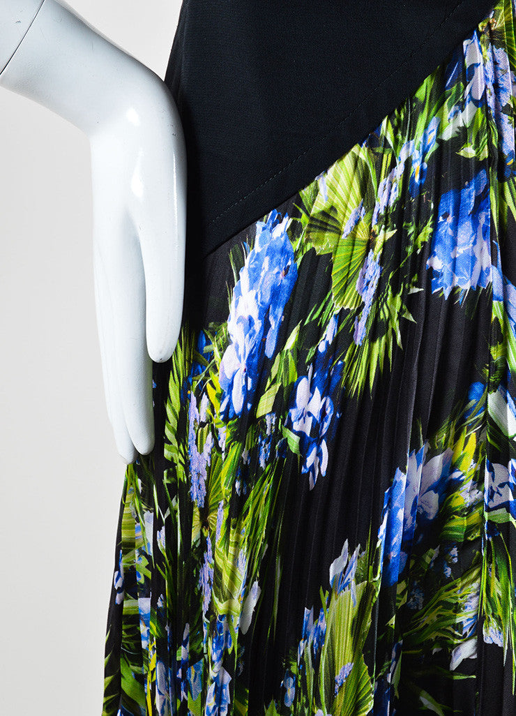 Givenchy Black, Green, and Blue Tropical Floral Print Pleated Sleeveless Maxi Dress Detail