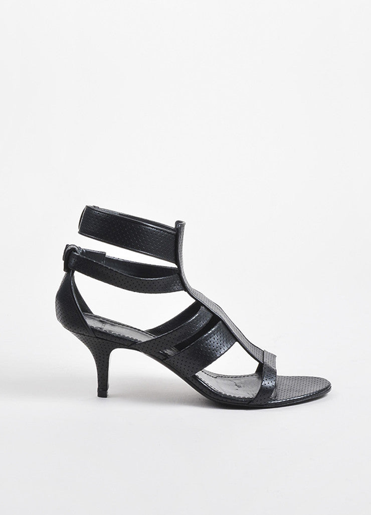 Black Givenchy Perforated Leather Strappy Heeled Sandal Side