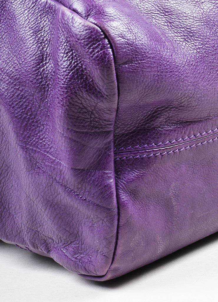 "Purple Leather Gold Toned Zip Givenchy ""Medium Pandora"" Messenger Bag Detail"