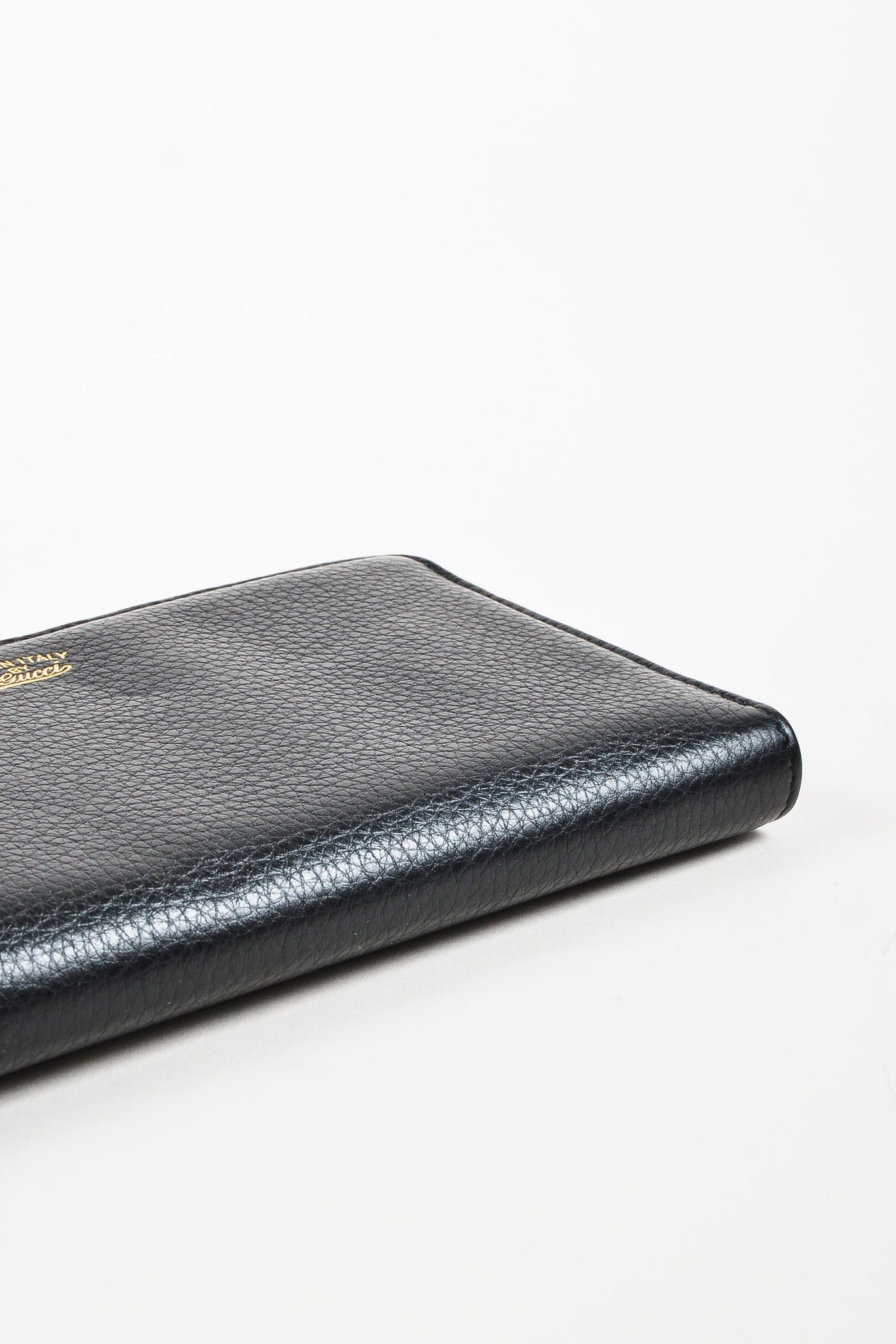 "Gucci Black Gold Toned Leather Bamboo Tassel ""Zip Around"" Wallet bottom View"