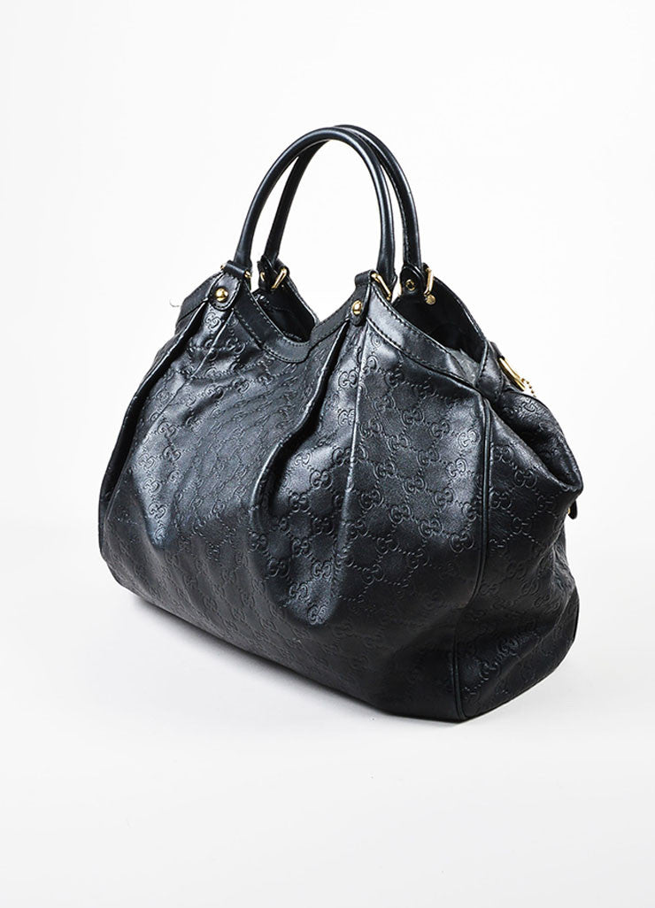 "Gucci Black Leather Guccissima Large ""Sukey"" Tote Bag Sideview"