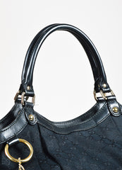 "Gucci Black Monogram Canvas Leather Trim GHW ""Large Sukey"" Satchel Bag Detail 3"