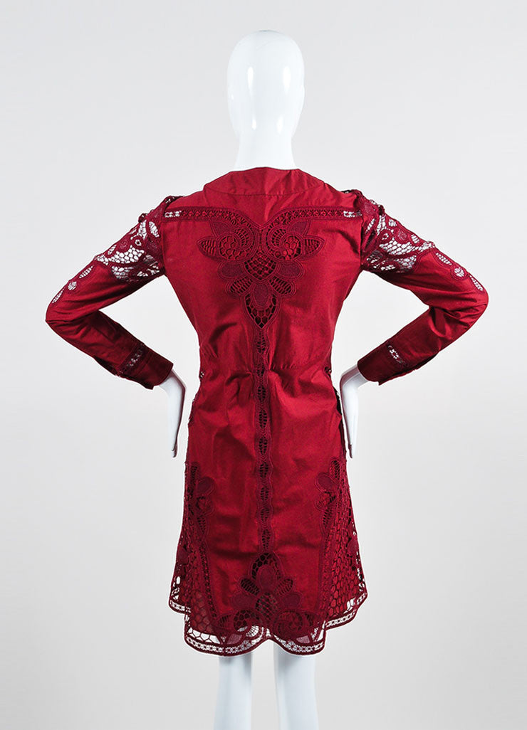Cranberry Red Gucci Crotcheted Long Sleeve Laceup Dress Back