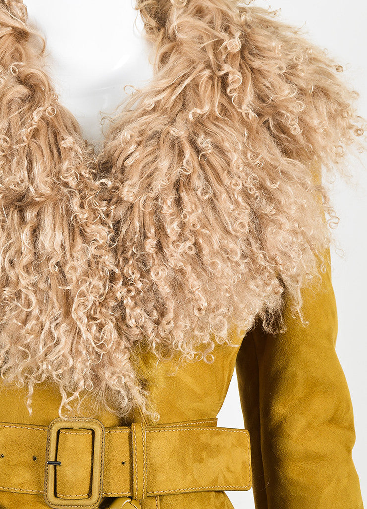 Tan Gucci Shearling Mongolian Fur Double Breasted Belted Coat Detail
