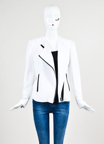 "White and Black Helmut Lang Crepe Asymmetrical ""Sugar"" Jacket Frontview"
