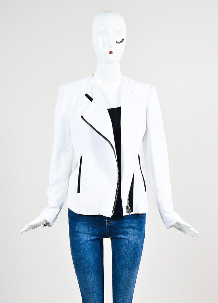 "Helmut Lang White and Black Crepe Asymmetrical ""Sugar"" Jacket Frontview"