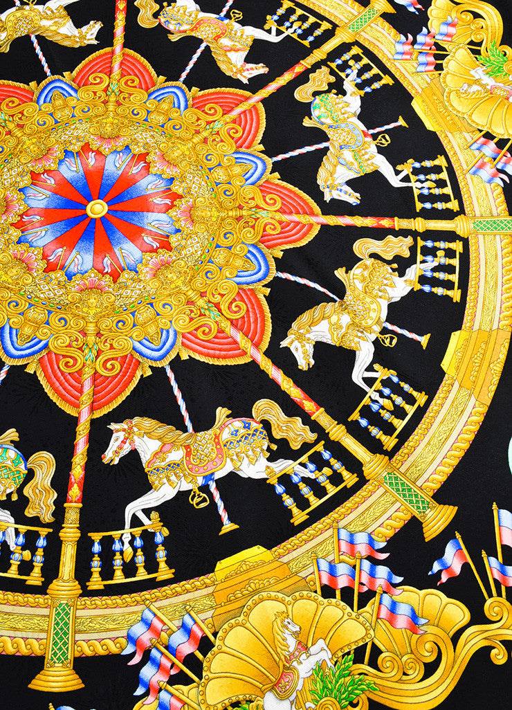 "Hermes Black, Gold, and Multicolor Silk Carousel Motif ""Luna Park"" Scarf Detail"