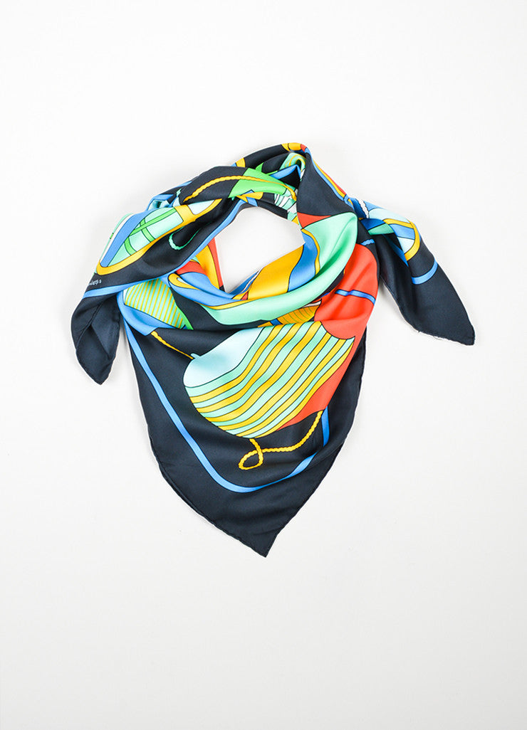 "Multicolor Hermes Silk Printed ""Thalassa"" Square Scarf Frontview"