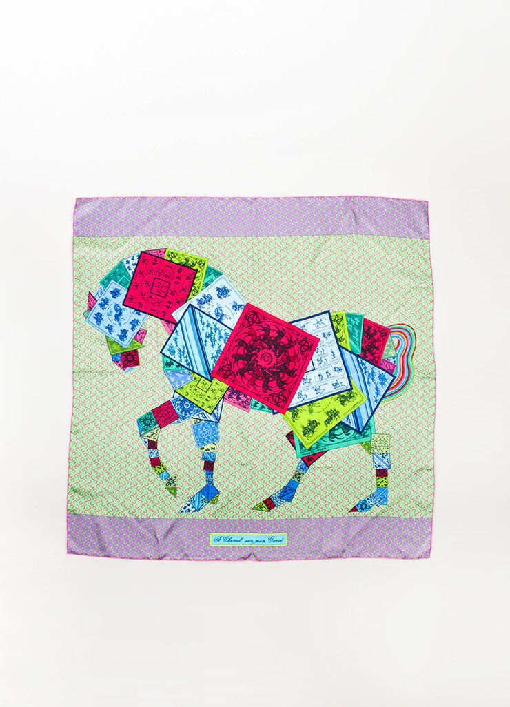 "Hermes Purple and Green Silk ""A Cheval Sur Mon Carre"" Horse Print 90cm Scarf Frontview 2"