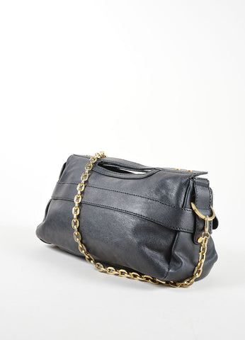"Jimmy Choo Black Leather Chain Strap ""Thalma"" Shoulder Bag Sideview"