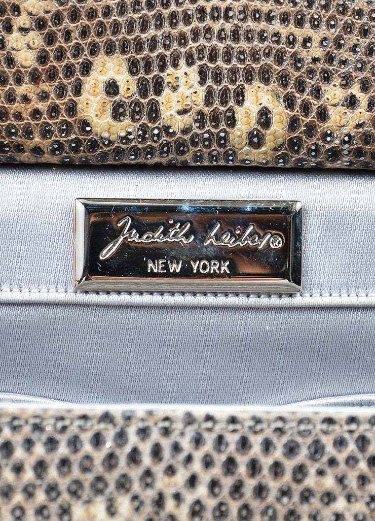 Beige and Black Judith Leiber Leather Reptile Print Rhinestone Embellished Mini Bag Brand