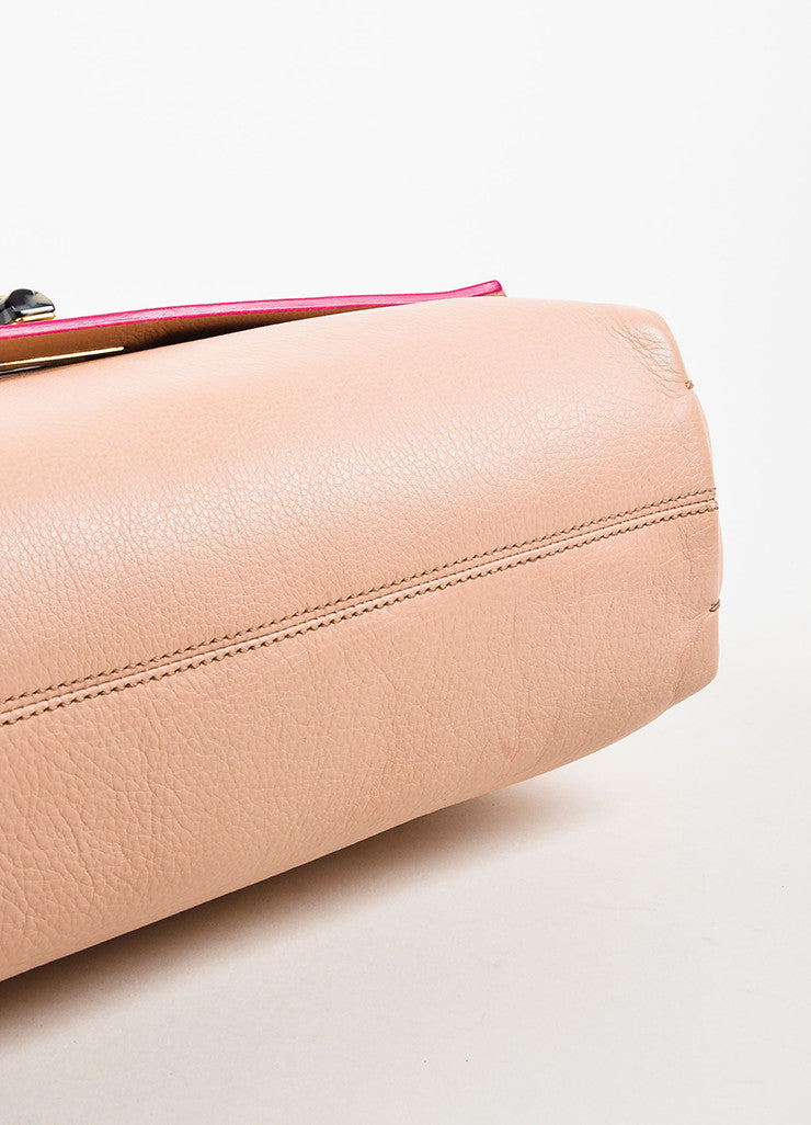 "Blush Pink Lanvin Grained Leather Chain Strap ""Happy Medium"" Bag Detail"