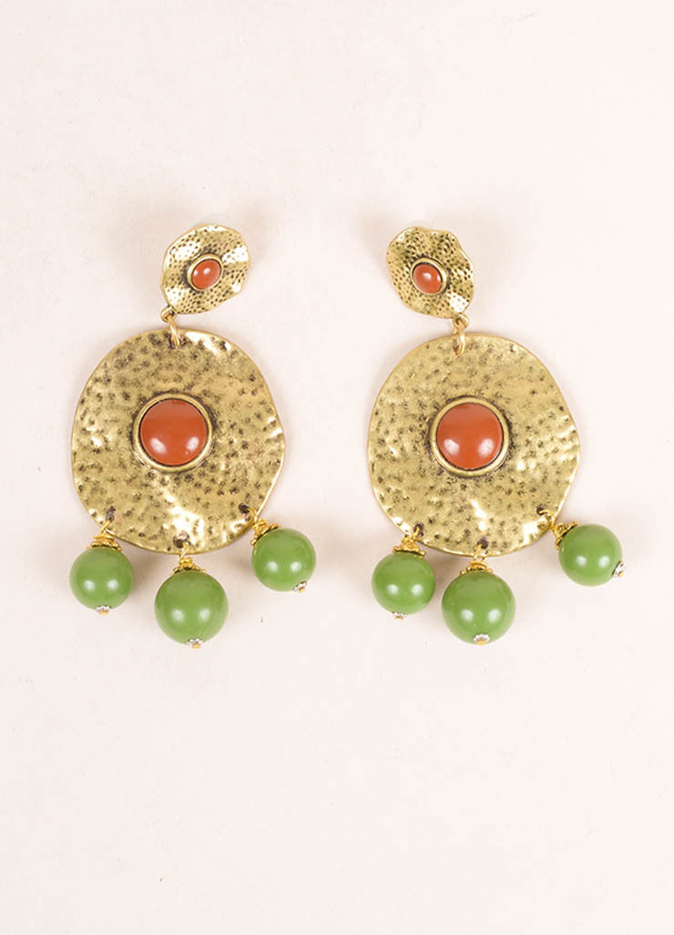 Lawrence Vrba Gold Toned, Brown, and Green Medallion Beaded Drop Earrings Frontview