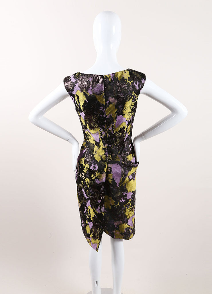 Lela Rose New With Tags Black, Green, and Purple Metallic Brocade Printed Dress Backview