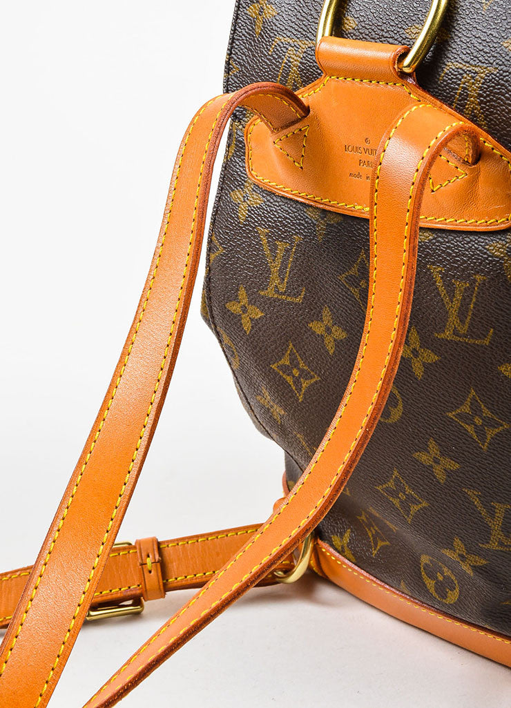 "Louis Vuitton Brown Canvas Monogram Drawstring ""Montsouris MM"" Backpack Detail 3"