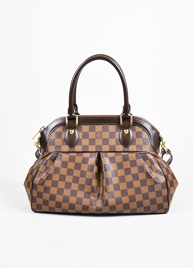 "Brown Louis Vuitton Coated Canvas and Leather ""Damier Trevi PM"" Satchel Bag Frontview"