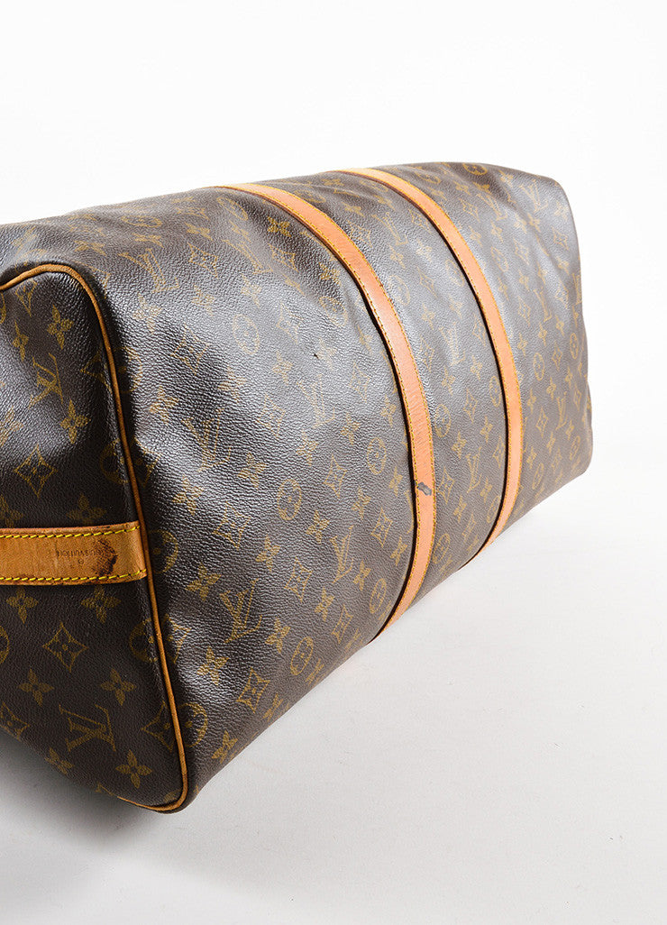 "Louis Vuitton Brown Canvas and Leather Monogram ""Keepall 55 Bandouliere"" Bag Bottom View"