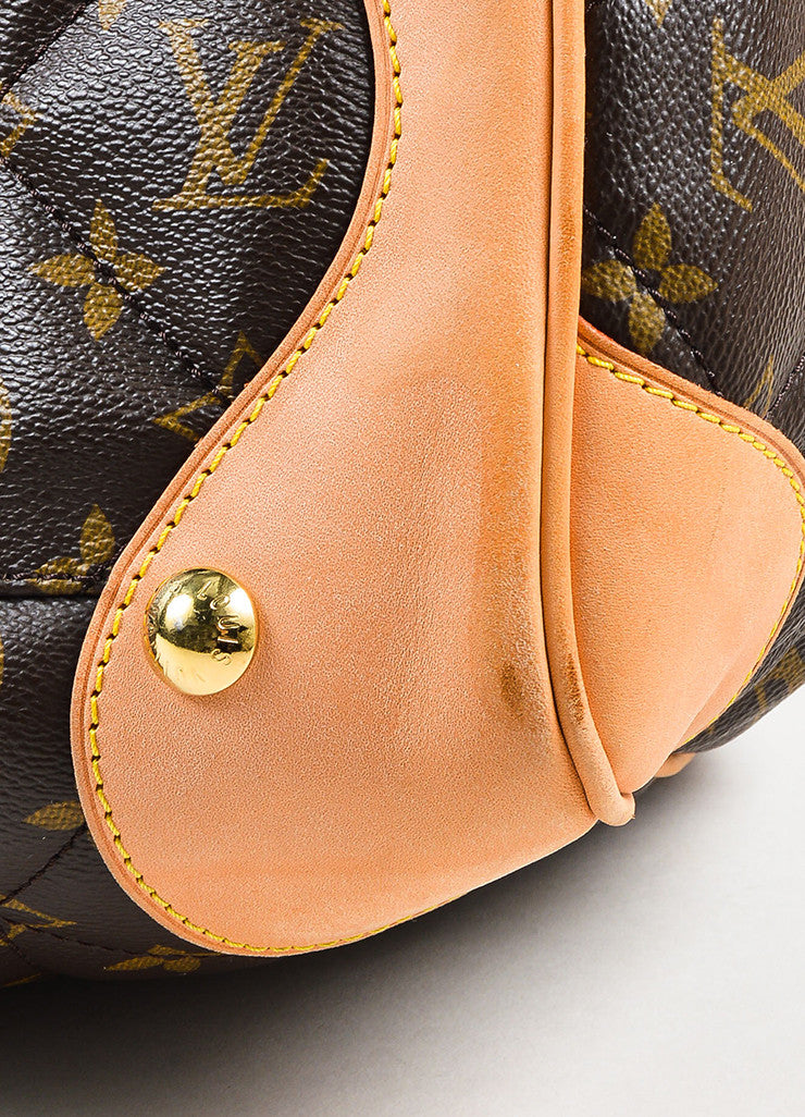 "Brown Tan Louis Vuitton Coated Canvas Monogram Quilted ""Etoile Tote Detail 3"