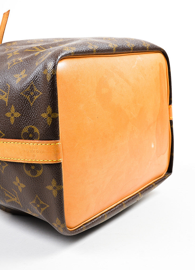 "Brown and Tan Louis Vuitton Monogram Coated Canvas ""Petit Noe"" Bucket Bag Bottom View"