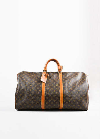 "Louis Vuitton Brown and Tan Monogram Leather ""Keepall 60"" Bag Frontview"