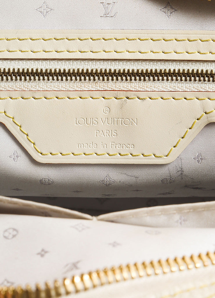 "Louis Vuitton Cream and Gold Toned Suhali Leather Studded ""Le Superbe"" Satchel Bag Brand"