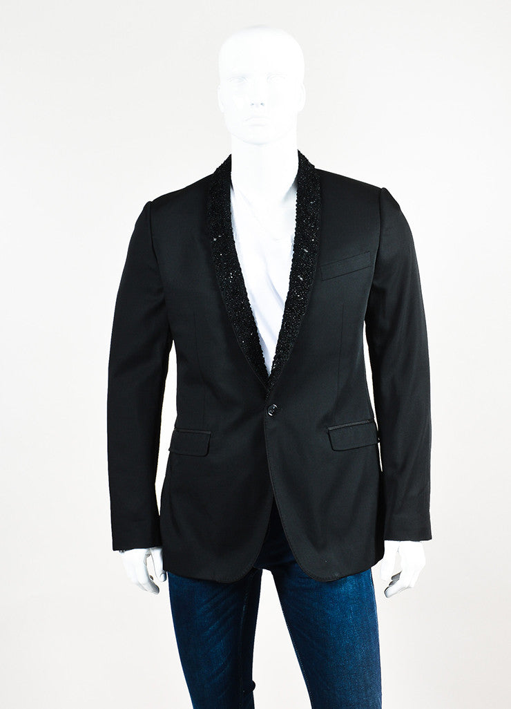 Men's Dolce & Gabbana Black Wool Embellished Lapel Evening Jacket Front 2