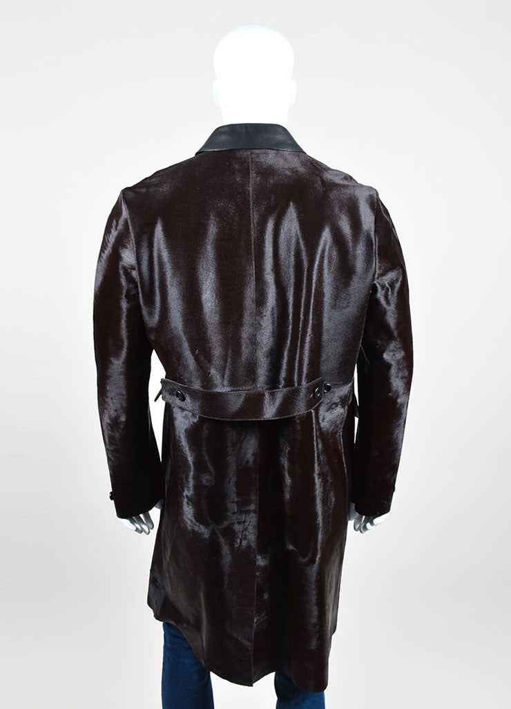 "Men's Burberry Prorsum ""Clove Brown"" Leather and Calf Hair Coat Backview"